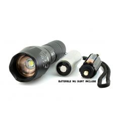 Lanternă LED CREE XM-L T6 cu Focalizare Regrabilă
