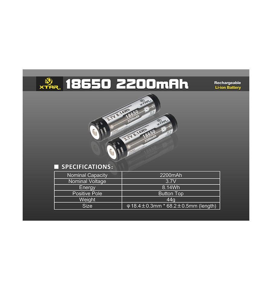 Acumulator 18650 XTAR 2200 mAh 3.7V Cu Protectie
