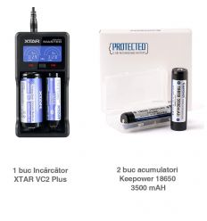 Pachet 2 X Keepower 18650 3500 Mah + XTAR VC2 Plus