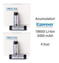 Keeppower 18650 - 3400mAh Acumulator Li-Ion cu Protectie