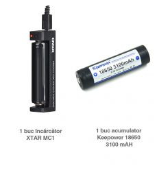 Pachet 1 X Keepower 18650 3100 Mah + XTAR MC1